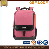 Pink nylon and leather laptop bag backpack women
