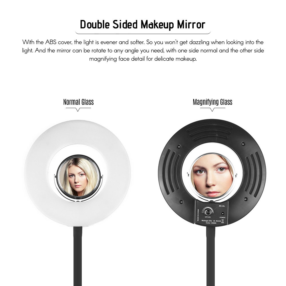 Portable led photography selfie ring light with makeup mirror for beauty 8inch small size