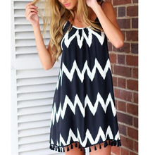Striped Casual V Neck Sleeveless Loose Front Vestidos indian dress