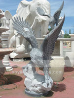 Stone Garden Black Marble Eagle Sculpture