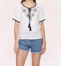 Latest Embroidery Tee Women Ethnic Style Linen Blouse Tops Summer Ladies Shirts Short Sleeve Vintage T-shirt STb-0622
