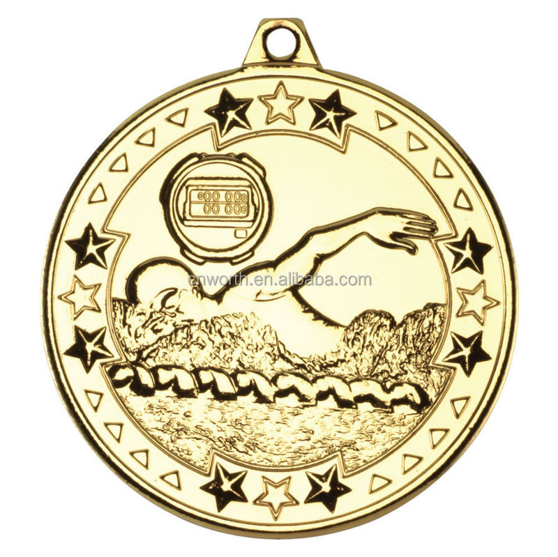 Free custom series logo medals swimming sport metal medals with stars design