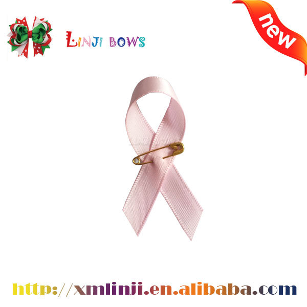 2016 wholesale colorful satin Ribbon aids Bow/Cancer Breast prevent Bow with silverpin