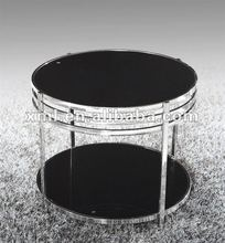 stainless steel two layer black glass small round coffee table XML-6069