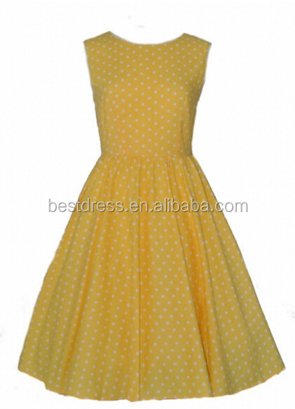 Fashionable Retro Style Polka Dots 50's Rockabilly Dress <strong>R1000</strong> Yellow