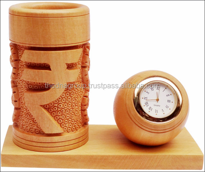Wooden pen holder with round clock