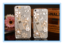 Hot Sale Luxuriou 3D Set auger Cell Phone Cover Shiny Diamond Lady Perfume Bottle Pearls TPU Case For iphone5/5s/6s/6plus