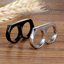Latest Fashion Stainless Steel Jewelry Mens Hip Hop Custom Double Two Finger Ring