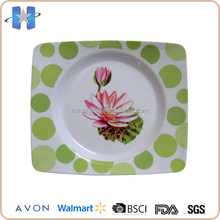 New product lotus pattern green polka dot lunch restaurant dinner plates