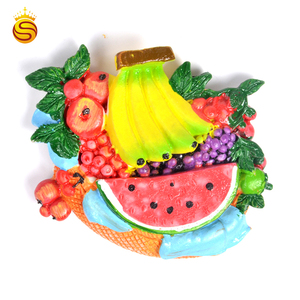 Custom 3d resin souvenirs fridge magnet fruits