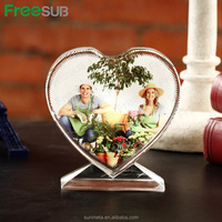Sunmeta factory Love heart shape sublimation crystal picture frame for birthday gift