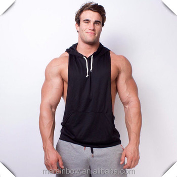 Men's Dry fit Polyester Racerback Muscle Hoodie Stringer Tank Top Deep Cut Gym Stringer Hoodie Sleeveless Bodybuilding Hoodie