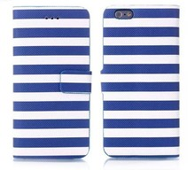 Mobile Phone Accessory Wallet Case Stripe Pattern Leather Flip Cover With Stand for iPhone 6 Plus 5.5""