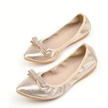2017 New Spring Women Ballet Flats Handmade Bowtie Pointed Toe Folding Flats Soft Walking Driving Dancing Shoes
