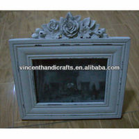 Carved wooden flower decoration white photo frame for birthday gift