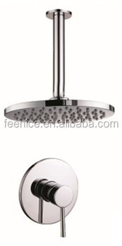 Brass 8inch Round shower head bathroom concealed bath shower set FNF62021K