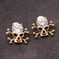 Factory Professional Wholesale gems hand carved Skull Earrings