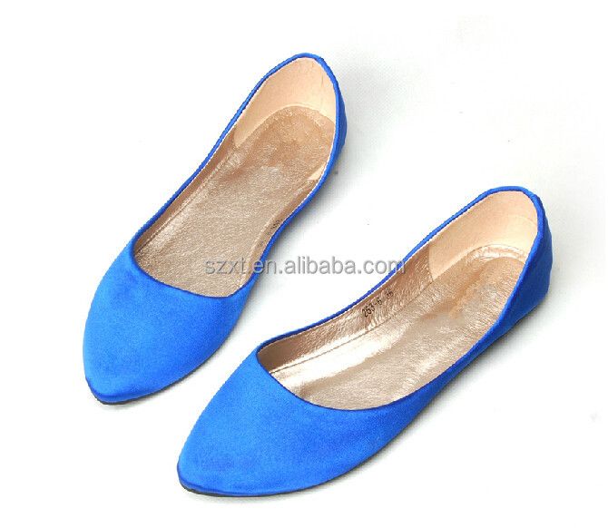 Fashion cheap lady satin ballet flat shoes made in China