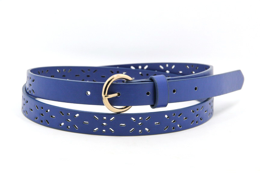 pu leather women belt 2015 blue caved belt for derss