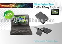silicone bluetooth keyboard for Blackberry Playbook with leather case