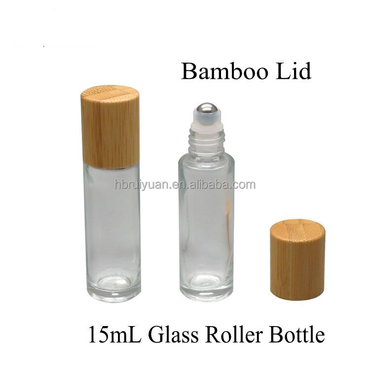 Bamboo lid 15ml glass roller bottles with Metal glass Ball
