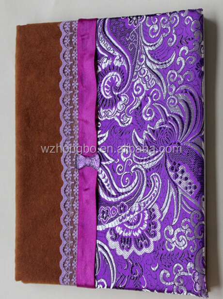 Embroidery fabric covered notebook