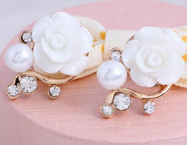 white Korean Style OL Pink Rose Flower Shiny Crystal Rhinestone Pearl Stud Earrings