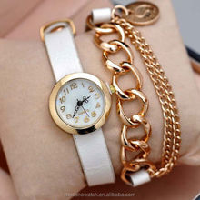 Diamond female gold and silver bracelet women quartz luxury watch 2015 with love pendant