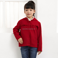 New design kids clothing girls winter red elegant warmly coat with hood