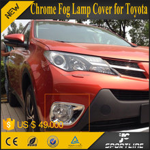 JC Sportline Car Exterior Accessories for Christmas Gift 2pcs/set Chrome Front Fog Light Lamp Cover Trim for Toyota RAV4 2014