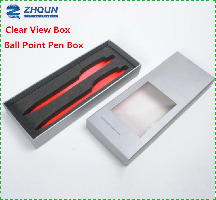 Clear view lid pen presentation boxes with EVA inserts