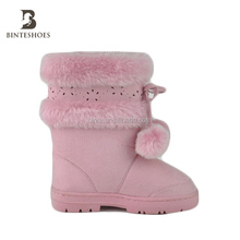 Fur ball snow boots with pompom fur collar hollow flower boots shoes