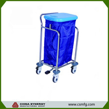 Steel frame hospital linen carts medical waste trolleys