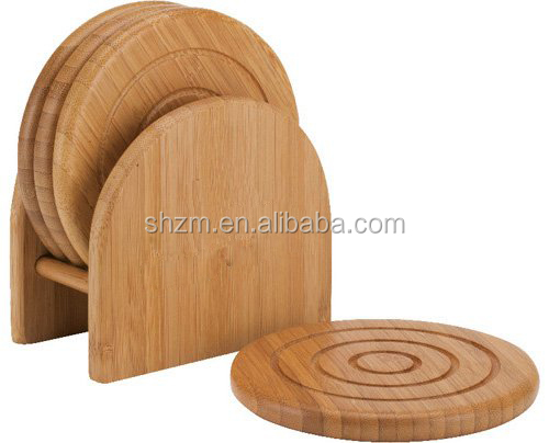 Personalized Round Bamboo Coaster Set Wholesale 6 Pieces Bamboo Wood Trivet&Coaster Eco-friendly Hot Pot Pad Bamboo Mat