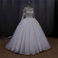 OEM serveice real pictures tea length wedding dresses long sleeves