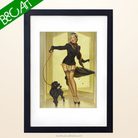 Fashion lovely lady & dog oil painting