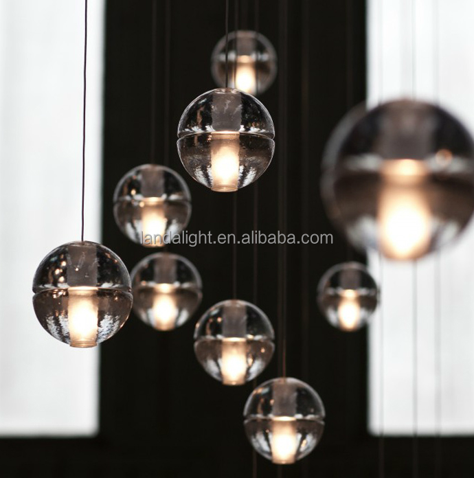 modern suspension glass crystal ball pendant lamp G4 Led bulb for stair lamp