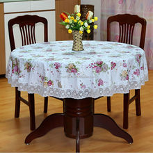 Hot sale Pastoral round coffee tablecloth waterproof oilproof plastic pad plus velvet PVC table cloth