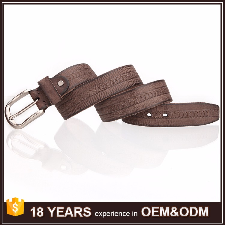Hot Selling Top Brown Genuine Leather Italy Belt with Alloy Pin Buckles