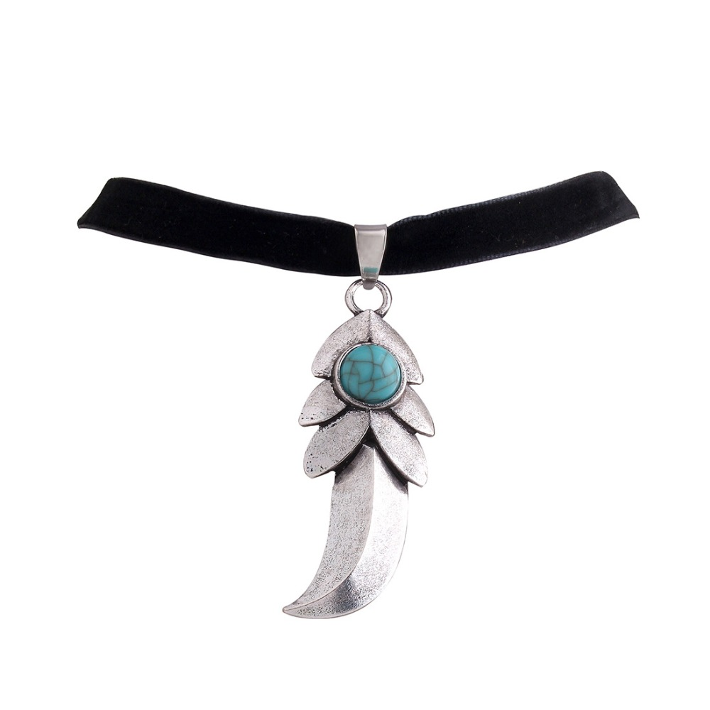 Fashion trendy chokers antique bohemia turquoise choker necklace