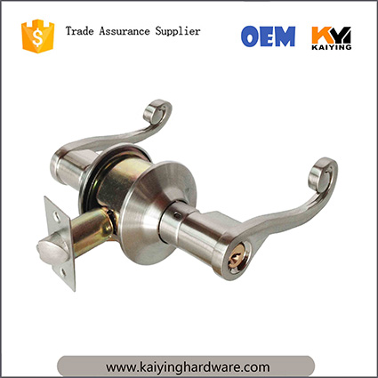 Adjustable Latch Zinc Alloy handle High Quality leverset Bathroom Passage Entrance Cylindrical Door Lock KY1890BK-CP