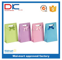 Fasion colour foldable gift knot paper bag with die cut handle