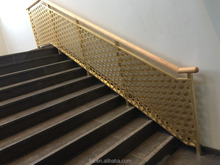 morden design hexagonal pattern natural brush brass interior stair handrails