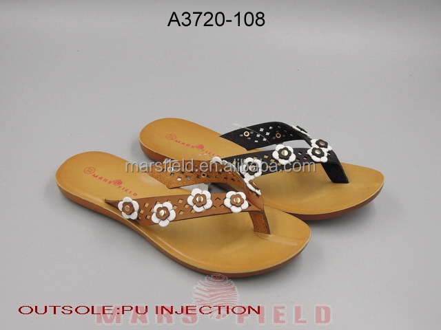 Laser shoes upper fake flowers latest design flip flops