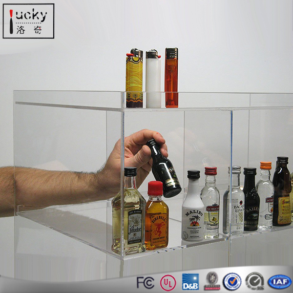 Acrylic Bottle Display Clear Dispaly Case Two Shelf Locking Bottle Barware Tabletop Cabinet