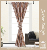 1Pc 100% Polyester Brown Yarn Dyed Jacquard Grommet Curtain Fabrics Turkry/Turkish Style with Matching Clip