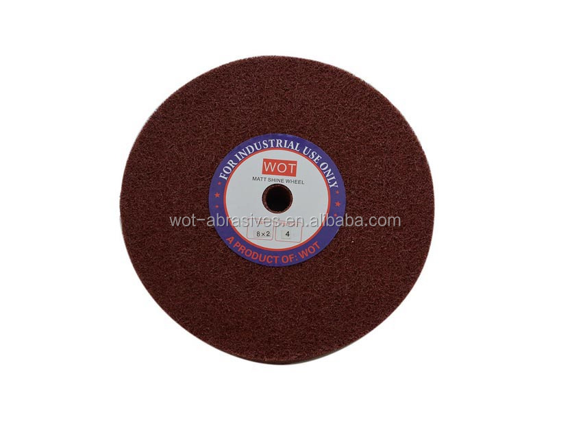 8 Inch x2 Inch 4P/U0 Maroon Color Abrasive Non Woven Polishing Wheels Polish Stainless Steel