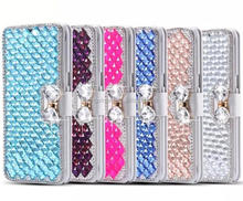 New Products Bling Crystal Bowknot Rhinestones Diamond Flip Leather Phone Case For Samsung S6/S6edge/S6edge plus/Note5