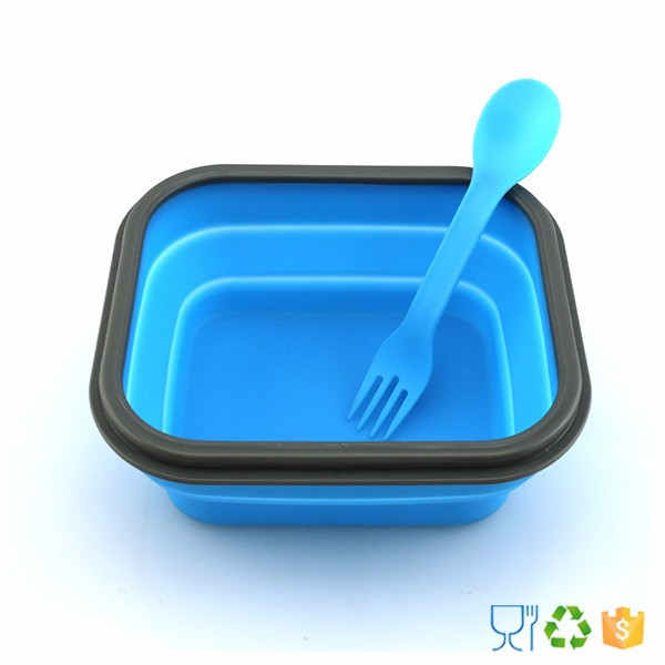 500ml Heating School Foldable Kids Silicone Lunch Box Set With Fork & Spoon