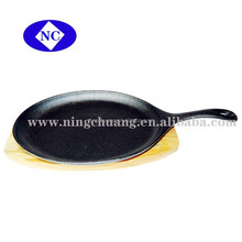 cast iron mini fry pan with wood base Steak Plate